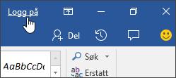 Skjermbilde som viser påloggingskobling i et Office-skrivebordsprogram