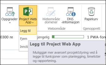 Project Web App > Legg til