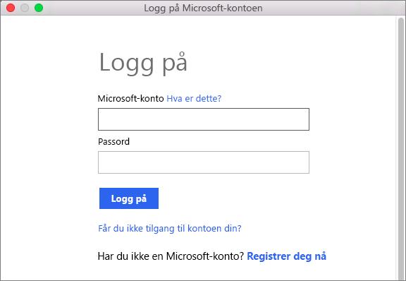 Angi legitimasjonen for Microsoft-kontoen for å få tilgang til tjenester som er knyttet til kontoen.
