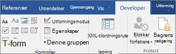 Klikk Egenskaper i kontroller-gruppen i kategorien Utvikler