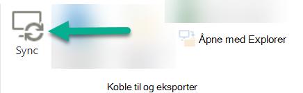 Alternativet Synkroniser er på SharePoint-båndet, bare til venstre for åpent med Explorer.