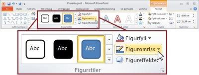 Format-fanen under Tegneverktøy på PowerPoint 2010-båndet.