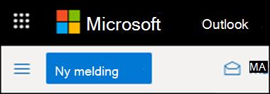 Slik ser båndet ut i Outlook på nettet.