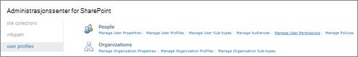 Koblingen behandle brukertillatelser på siden profiler