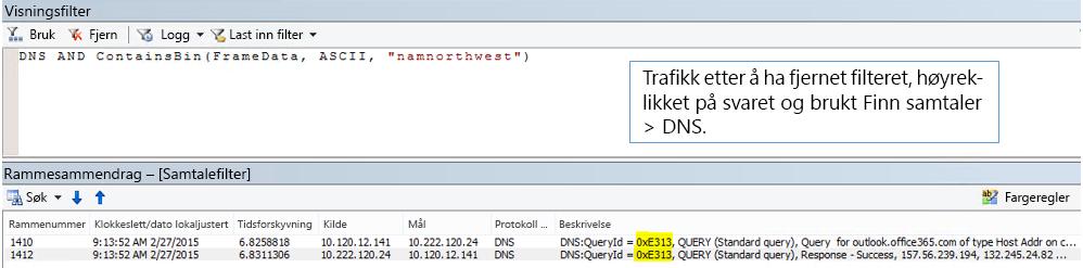 En sporing filtrert etter Finn samtaler og deretter DNS.