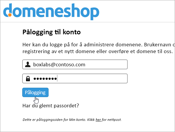 Skjermbilde for pålogging i Domainnameshop