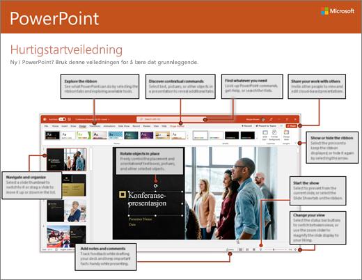 Hurtigstartveiledning for PowerPoint 2016 (Windows)