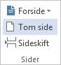 Klikk Tom side på SETT INN-fanen.