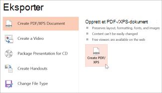Lagre en presentasjon som PDF