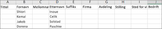Eksempel på en Outlook CSV-fil som åpnes i Excel