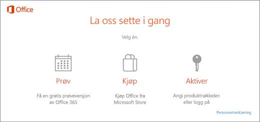 Et skjermbilde som viser standard prøve-, kjøpe- eller aktiverings-alternativer for en PC med forhåndsinstallert Office.
