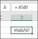 #NAVN? feil ved bruk av x med celle referanser i stedet for * for multiplikasjon