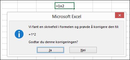 Meldingsboks ber om å erstatte x med * for multiplikasjon