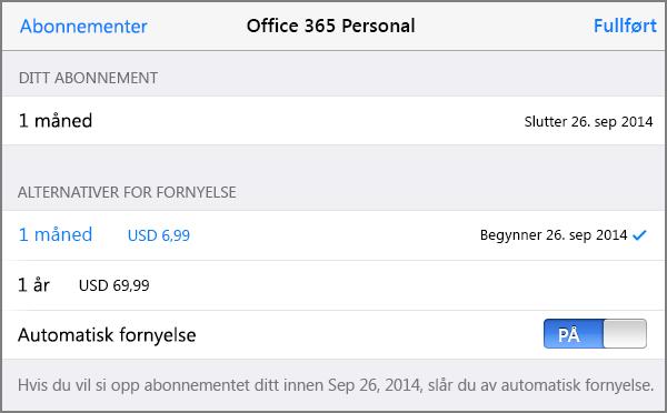 Abonnementsalternativer i App store