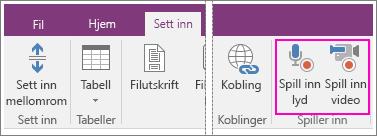 Skjermbilde av knappene Sett inn meny med AV i OneNote 2016.