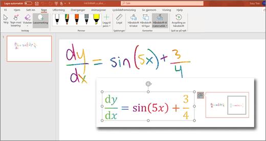 Håndskrift til matematikk