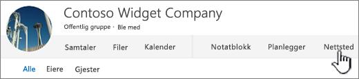Office 365 personer grupper-menyen med nettsted uthevet