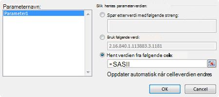 Dialog boksen MS spørrings parameter