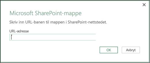 Excel Power BI SharePoint-mappekoblingsdialogboks