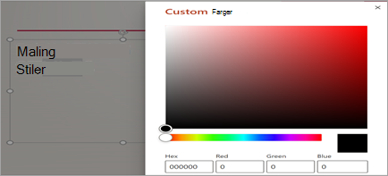 Vis egen definerte farge vindu