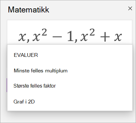 Liste over matriser i matematikk assistent