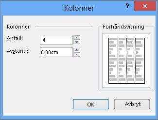 Skjermbilde av Tekstboksverktøy, flere kolonner i Publisher.