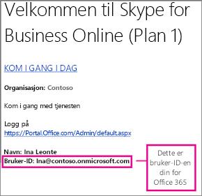 Et eksempel på en velkomst-e-post du mottok da du registrerte deg for Skype for Business Online. Inneholder bruker-ID-en for Office 365.