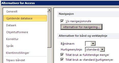 Innstillinger for navigeringsalternativer