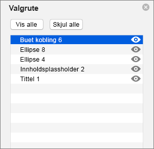Viser valgruten i PowerPoint 2016 for Mac
