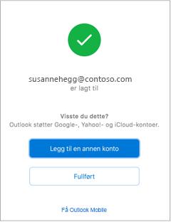 Bekreftelse når en e-postkonto er lagt til