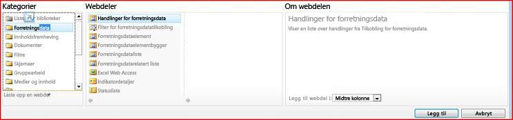Nettdelvelgeren viser Excel Web Access-nettdelen