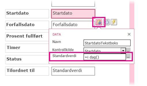 Angi standardverdien for et datofelt i en Access-app.