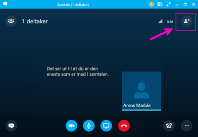 Oppringing med Skype for Business.