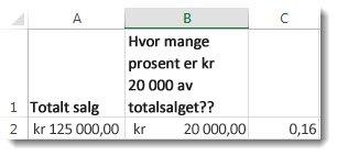 1250 000 i celle A2, 200000 i celle B2 og 0,16 i celle C3