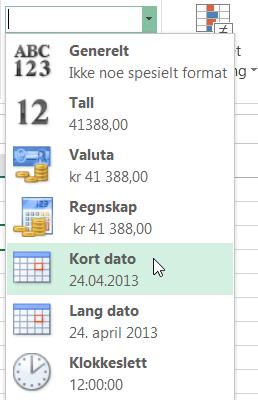 Kort dato-kommandoen i Tallformat-galleriet