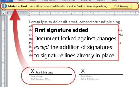 Dokument med første signatur lagt til, og kan ikke lenger redigeres