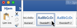 lage innholdsfortegnelse i word på mac