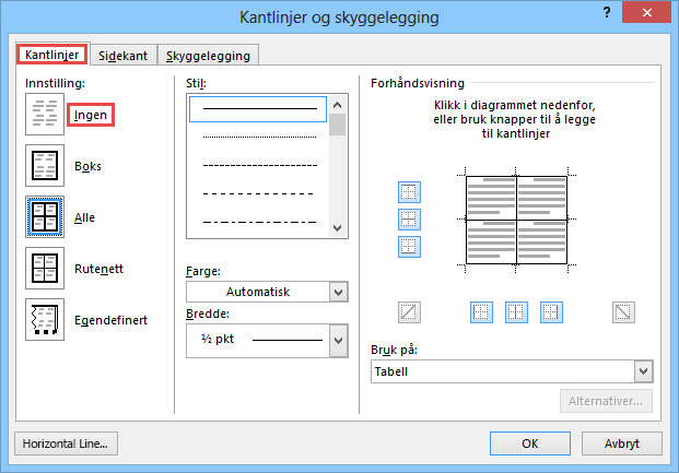 Dialogboksen Kantlinjer og skyggelegging for tabeller i Outlook 2010