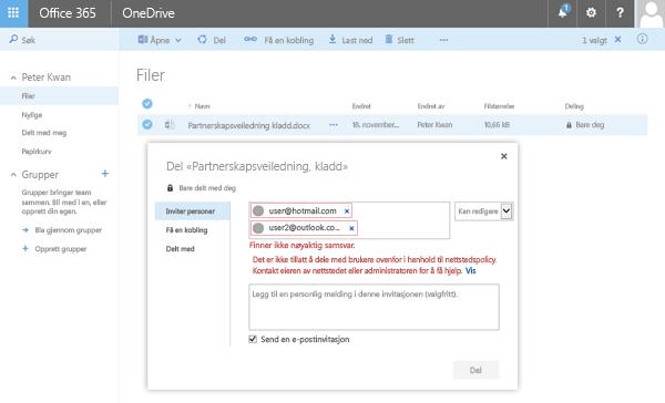 Brukere ser denne feilmeldingen når de prøver å dele et OneDrive-dokument til en begrenset domeneadresse.