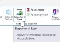 SharePoint-eksport til Excel-knappen på båndet som er uthevet