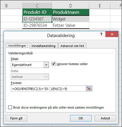 Eksempel 6: Formler innen datavalidering
