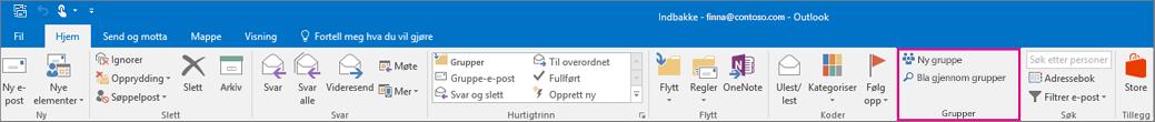 Alternativer for Grupper på hovedbåndet i Outlook