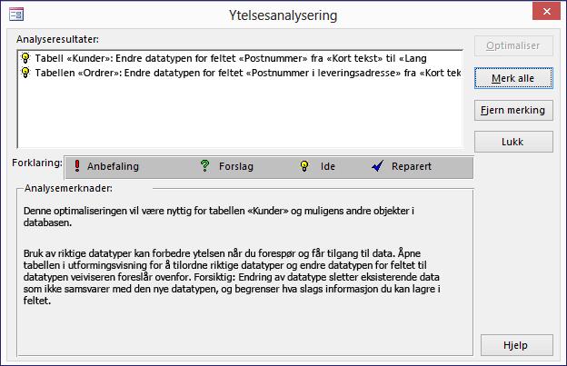 Dialogboks for Performance Analyzer-resultater etter kjøring på en Access-database.