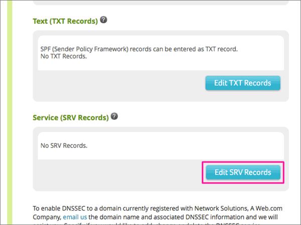 Klikk Edit SRV Records under tjeneste
