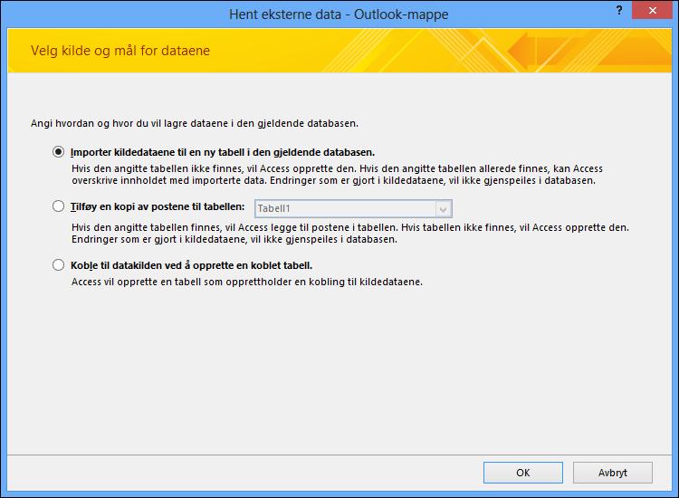 Velg å importere, tilføye eller koble til Outlook-mappe.