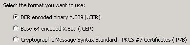Velg eksport format for sertifikat