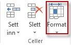 Formater celler på fanen Hjem