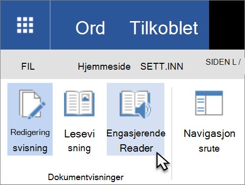 Åpne Verktøy for opplæring i Word Web App ved å velge kategorien Vis