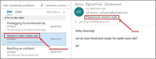 Outlook grupperer meldinger etter diskusjon i meldingslisten.