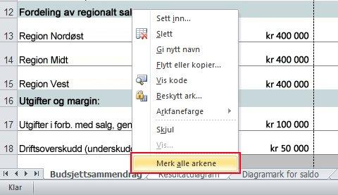Right-click a sheet tab, and click Select All Sheets.